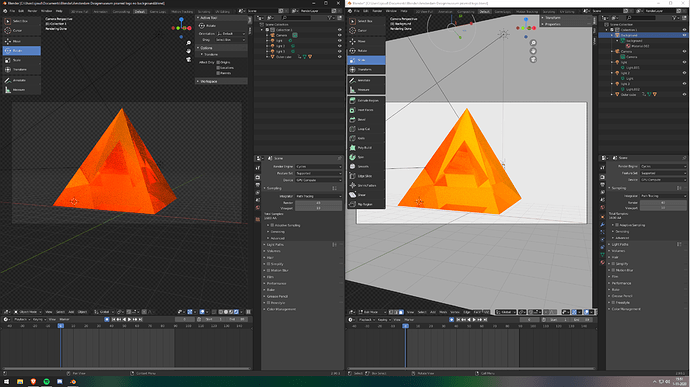 right Blender file has the colors I want