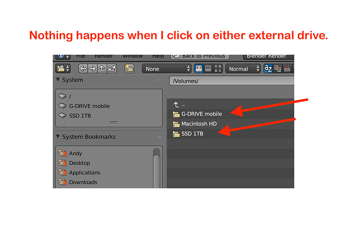 Screenshot of Blender's File System