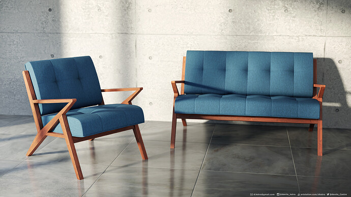 Package Sofa and armchair with cushions_02