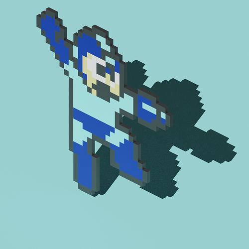Megaman pixel isometric