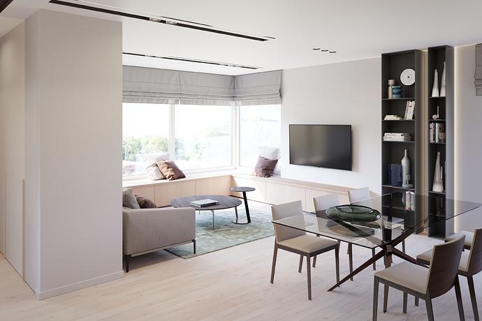 Į TV nuo koridoriaus - sienų spalva dažyta spinta