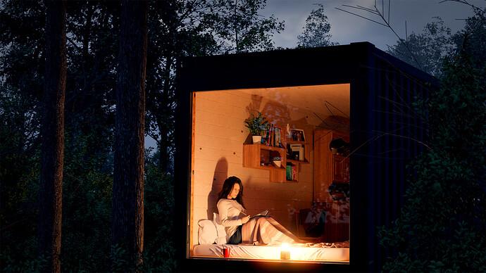 Tiny House in a wood - nightfall V3