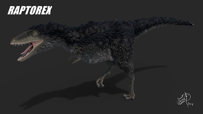Raptorex_Feathered_Posed_4K_by_Jeannot_Landry_2018