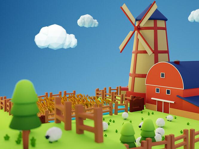 windmill scene alt angle post process