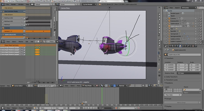 The propeller on second sub won't rotate continuously - Animation