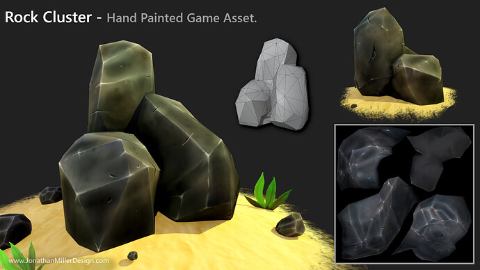 JMD Game Asset Hand Painted Rock Cluster