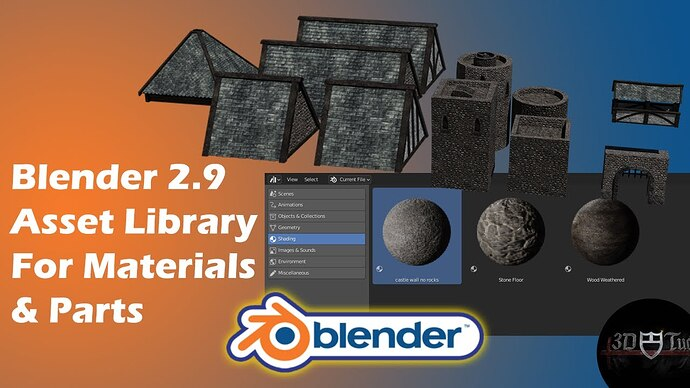 Blender 2.9 Asset Library Manager For Materials & Parts