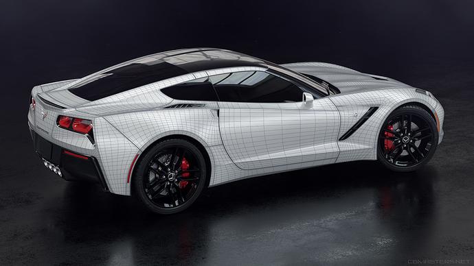corvette_side_white_wireframe