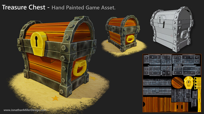 JMD Game Asset Hand Painted Treasure Chest
