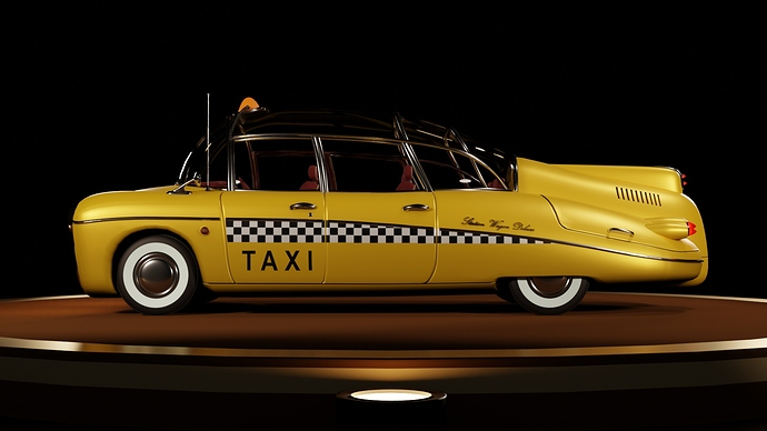 Taxi on stage (side)