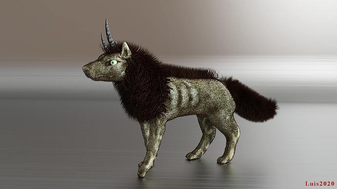 bicorn wolf beast small
