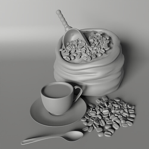2 Coffee time clay render