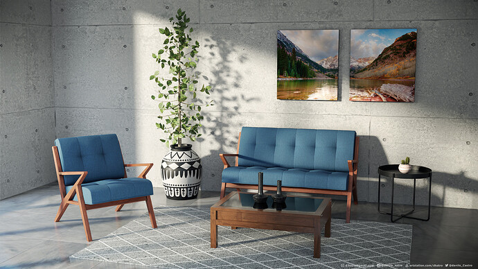 Package Sofa and armchair with cushions_01