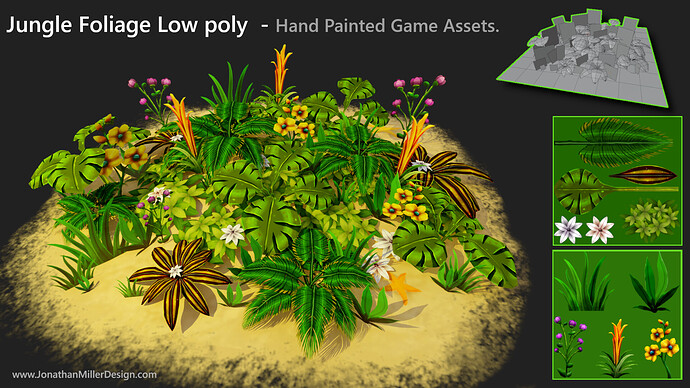 JMD Game Assets Jungle Foliage Alpha Card Composit
