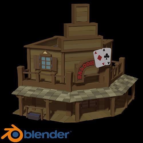 Blender 2 8 3D Model Western stylised saloon complete beginners guide part 1 Tutorials Tips