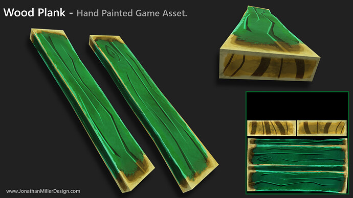 JMD Game Assets Hand Painted Wood Plank