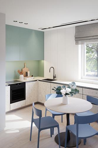 Virtuvė - neskaidytos spintelių durelės