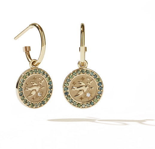 amulet earring pave gs