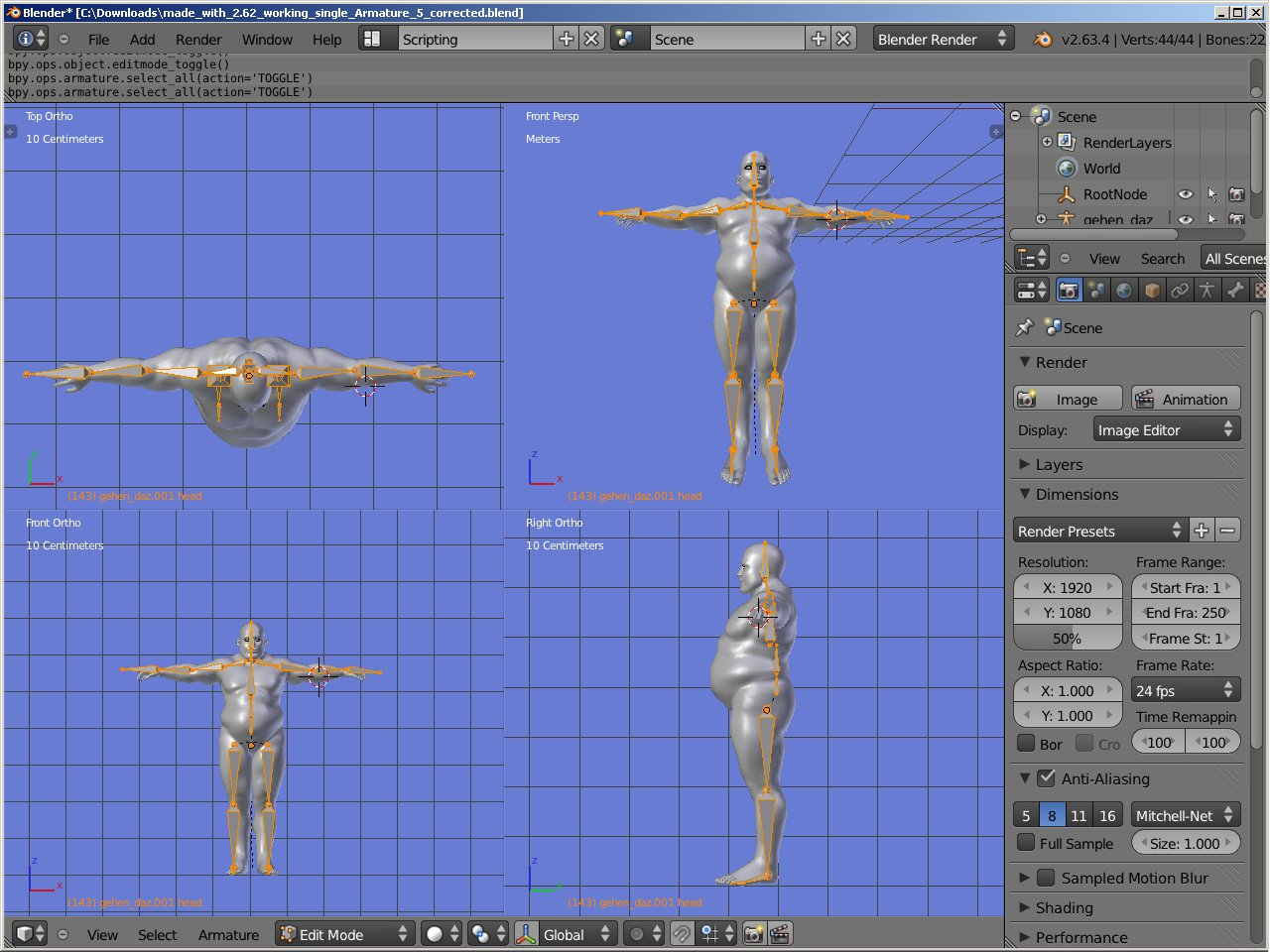 Problems in correcting a mocap pose with the Mocap add on