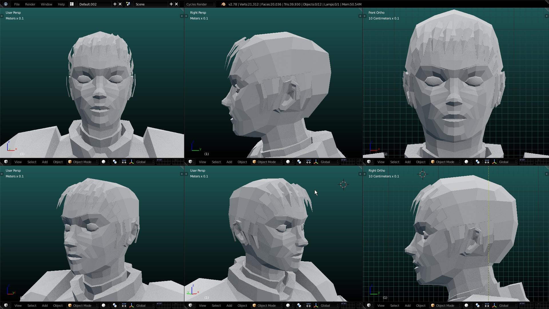 Anatomy help: Making low poly head look female. - Modeling - Blender ...