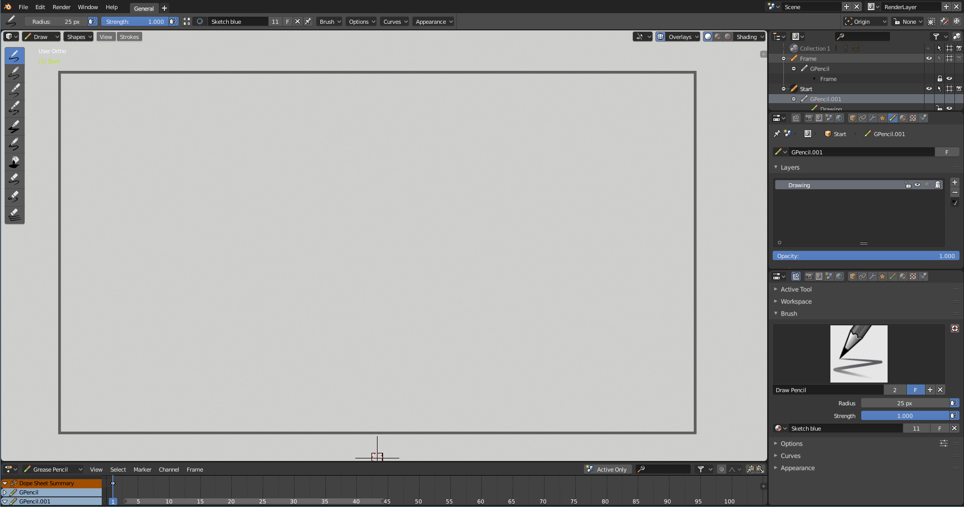 Some experiments with the 2D animation workspace on Blender