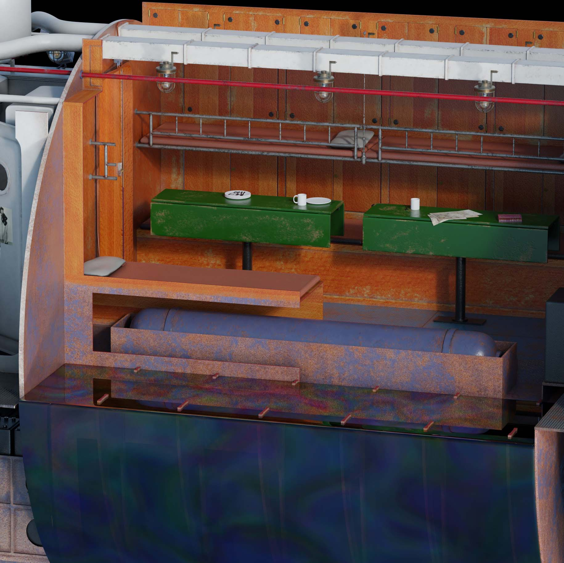 Cutaway Type VII U-Boat WIP - Works in Progress - Blender