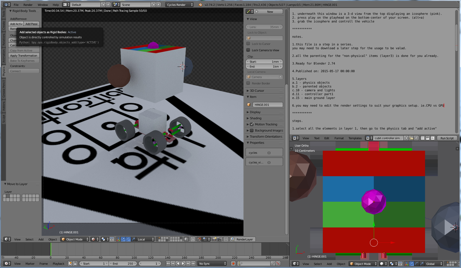 tutorial - setting up vehicels w/ rigid body constraints in the