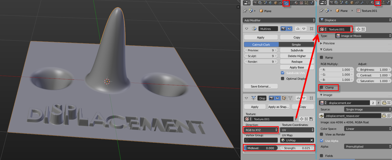 Displacement Modifier - 32 bit EXR files - Materials and Textures
