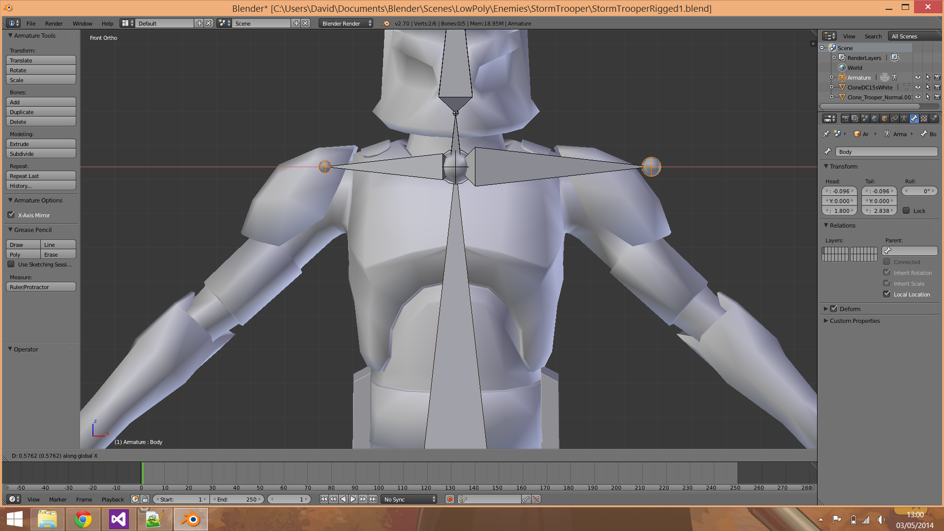 Uniform Symetry Bone Extrusion - Animation and Rigging - Blender