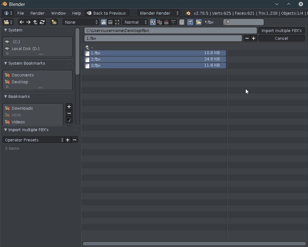 Import Multiple FBX files - Python Support - Blender Artists
