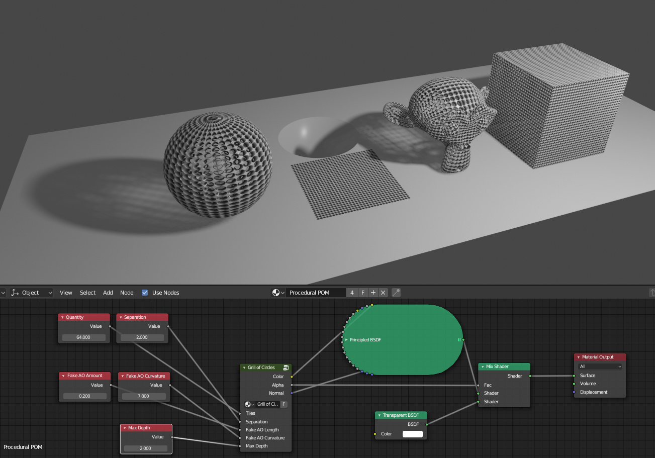 Efficient Grill using Procedural Parallax Occlusion Mapping in