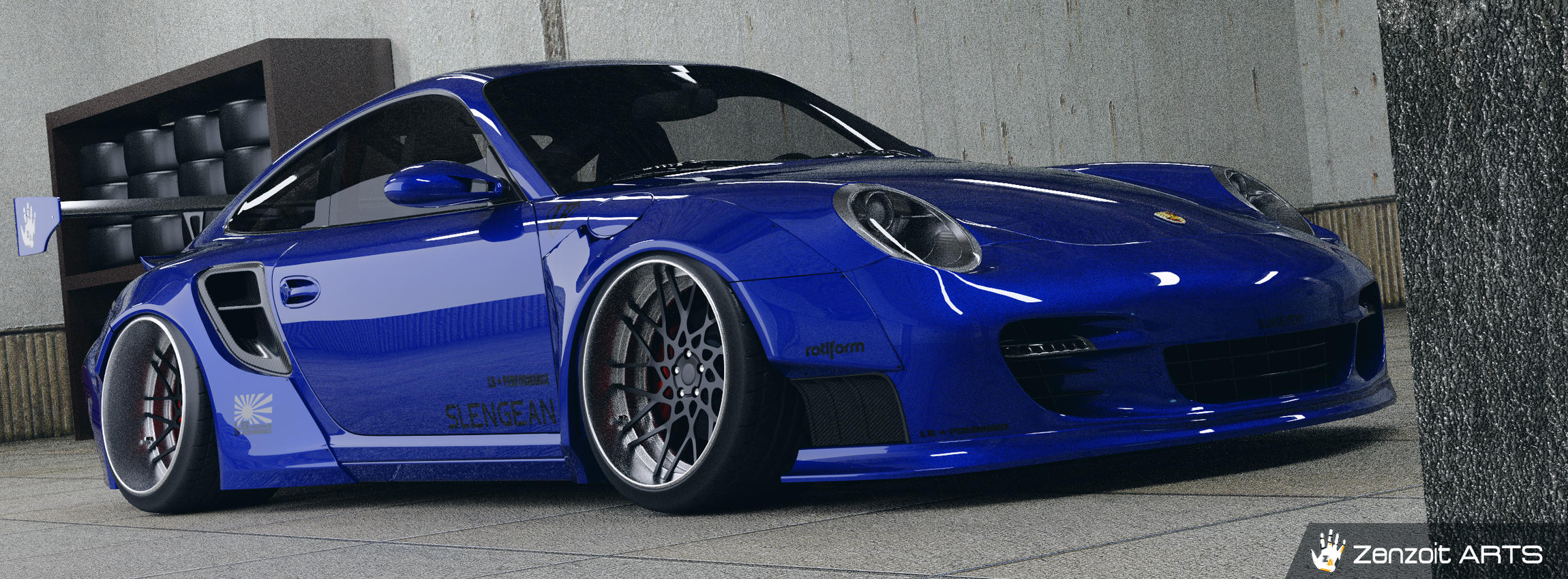 2007 Porche 911 Turbo Liberty Walk Kit - Finished Projects - Blender