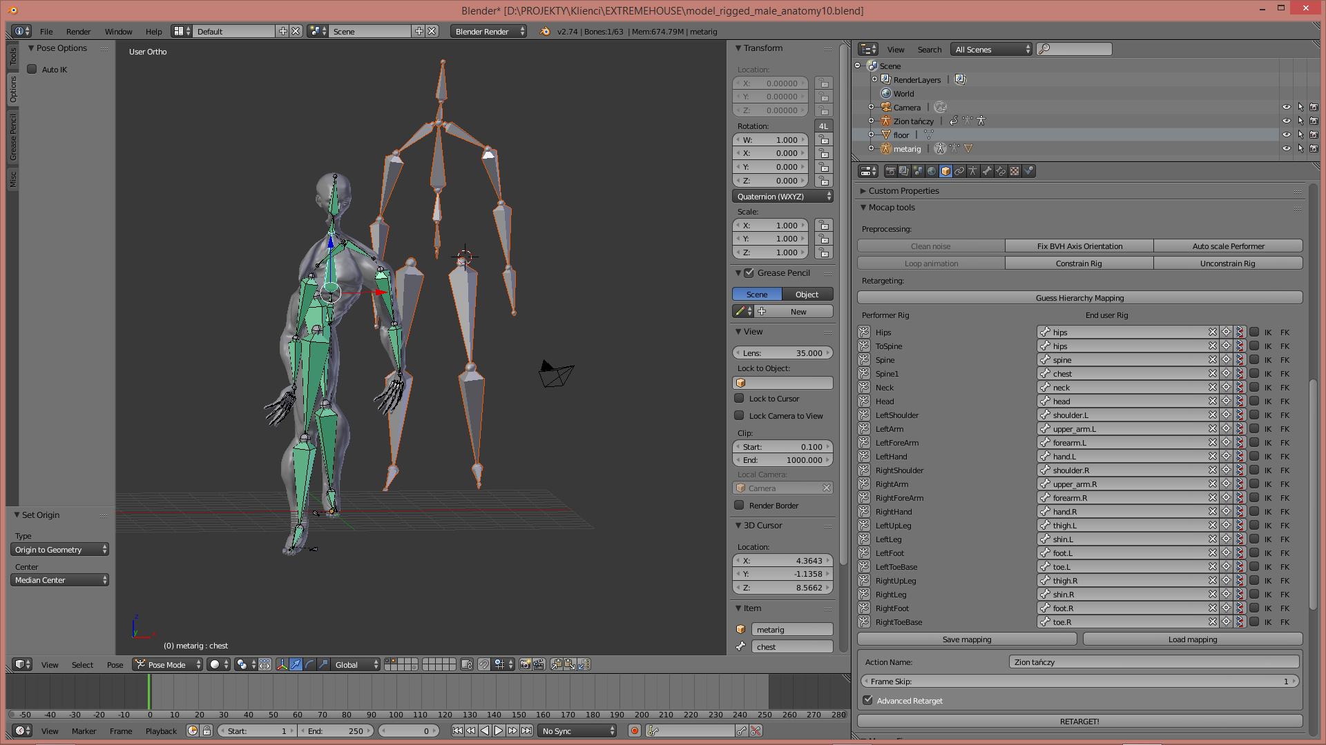 Animation Retargeting motion captur problem with twisted model after retargeting