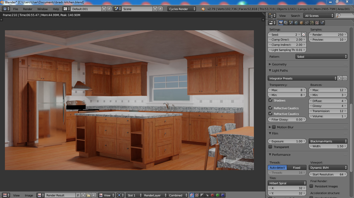 Render of chief architect kitchen in blender - Lighting and
