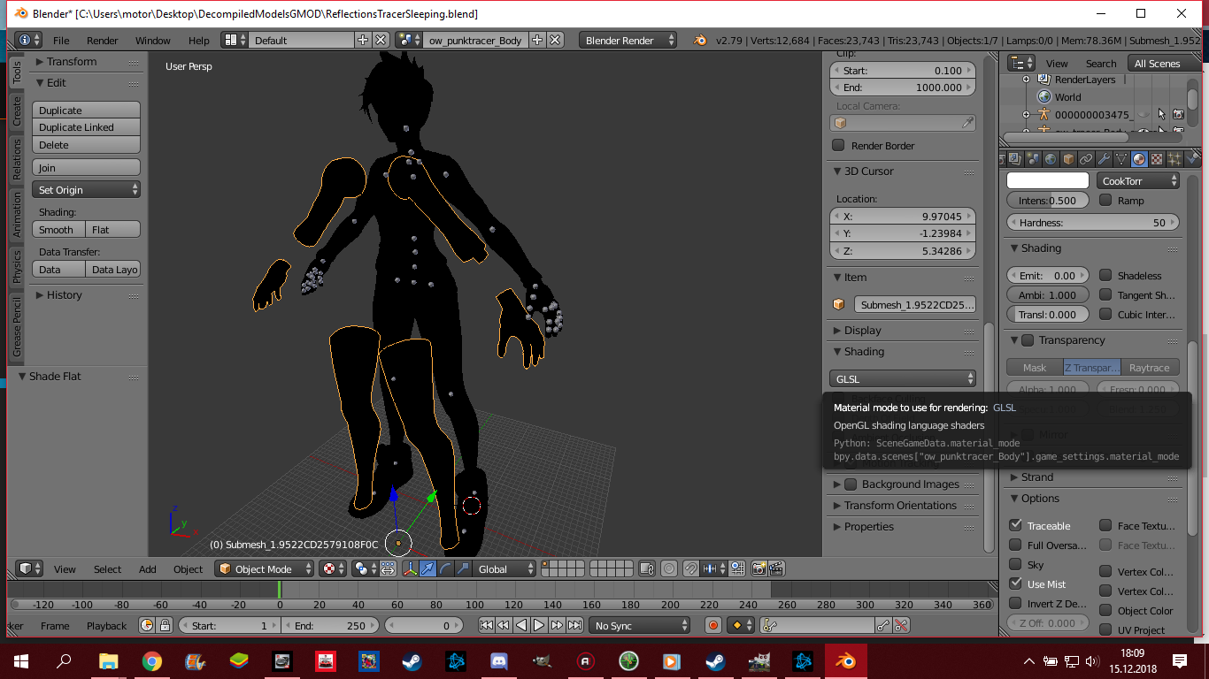 Making customized model from Overwatch for GMOD (mesh is black in