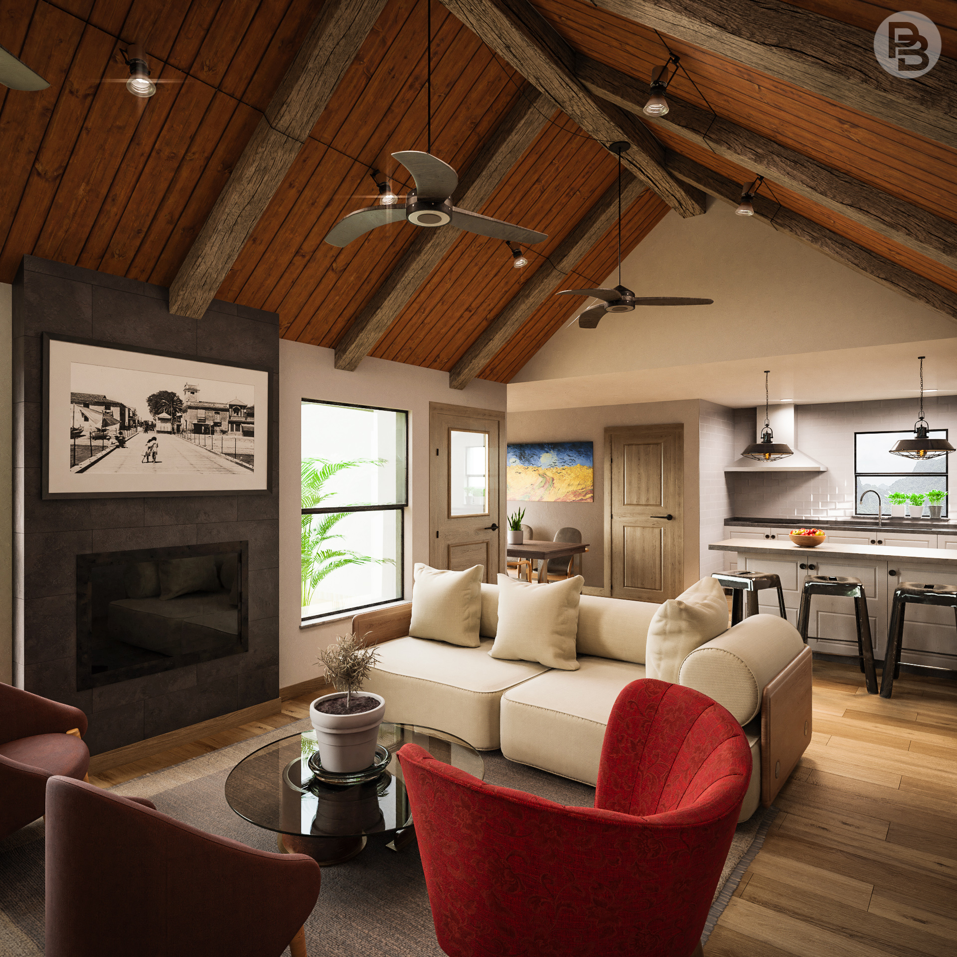 Mountain cabin  Realistic interior render - Finished