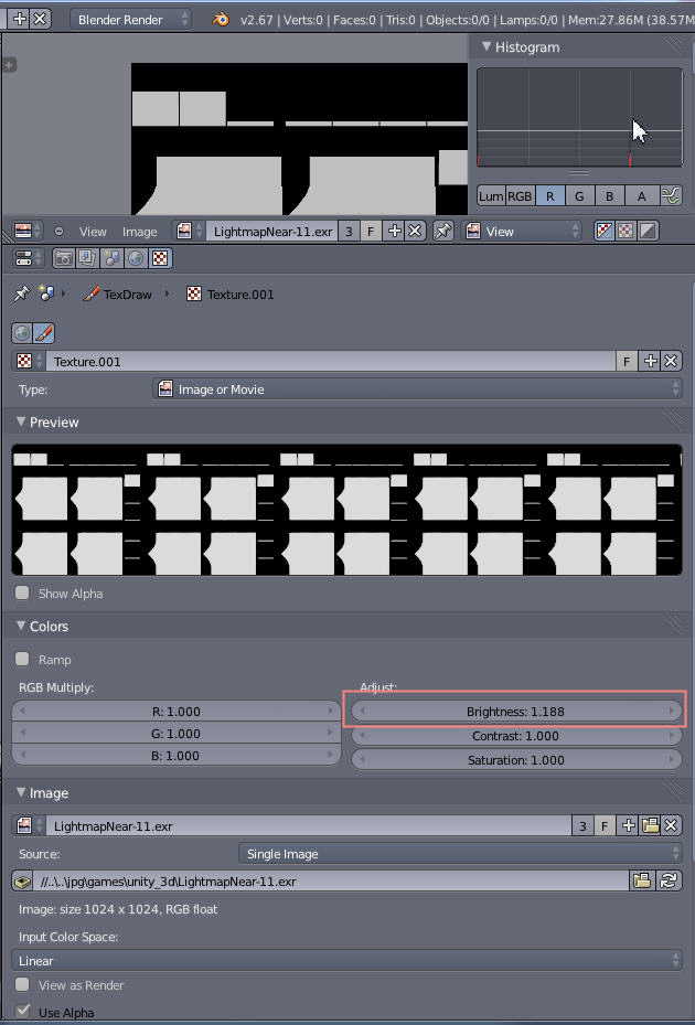 altered unity  exr lightmap file, how to save? - Materials and
