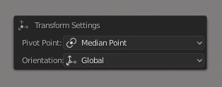 Transform Settings menu