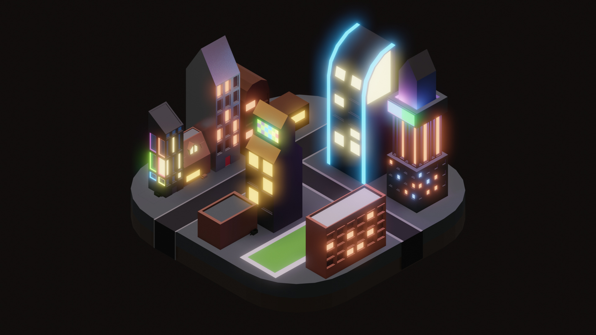 Low Poly City at Night - Finished Projects - Blender Artists Community