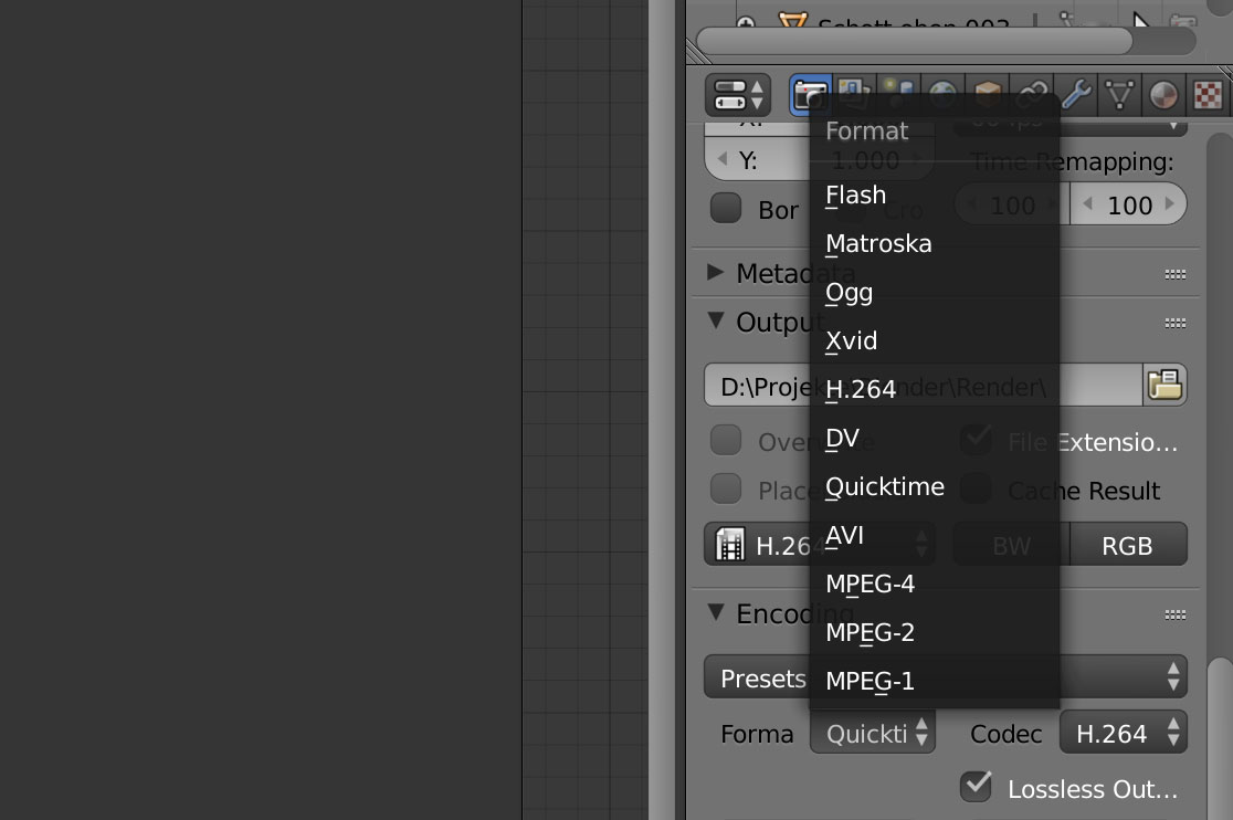 render video output settings > lossless, alpha channel