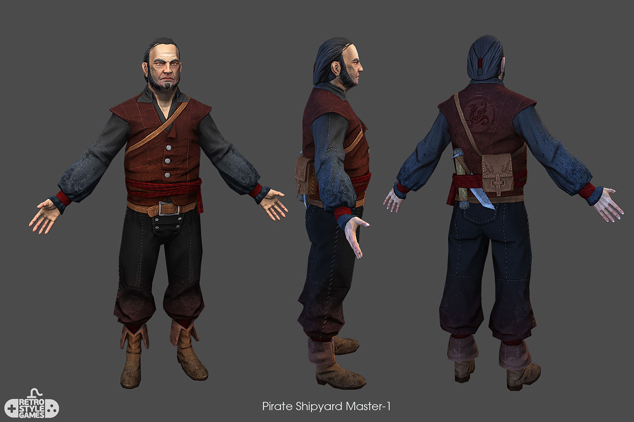 free 3d model of pirate character shipyard master finished