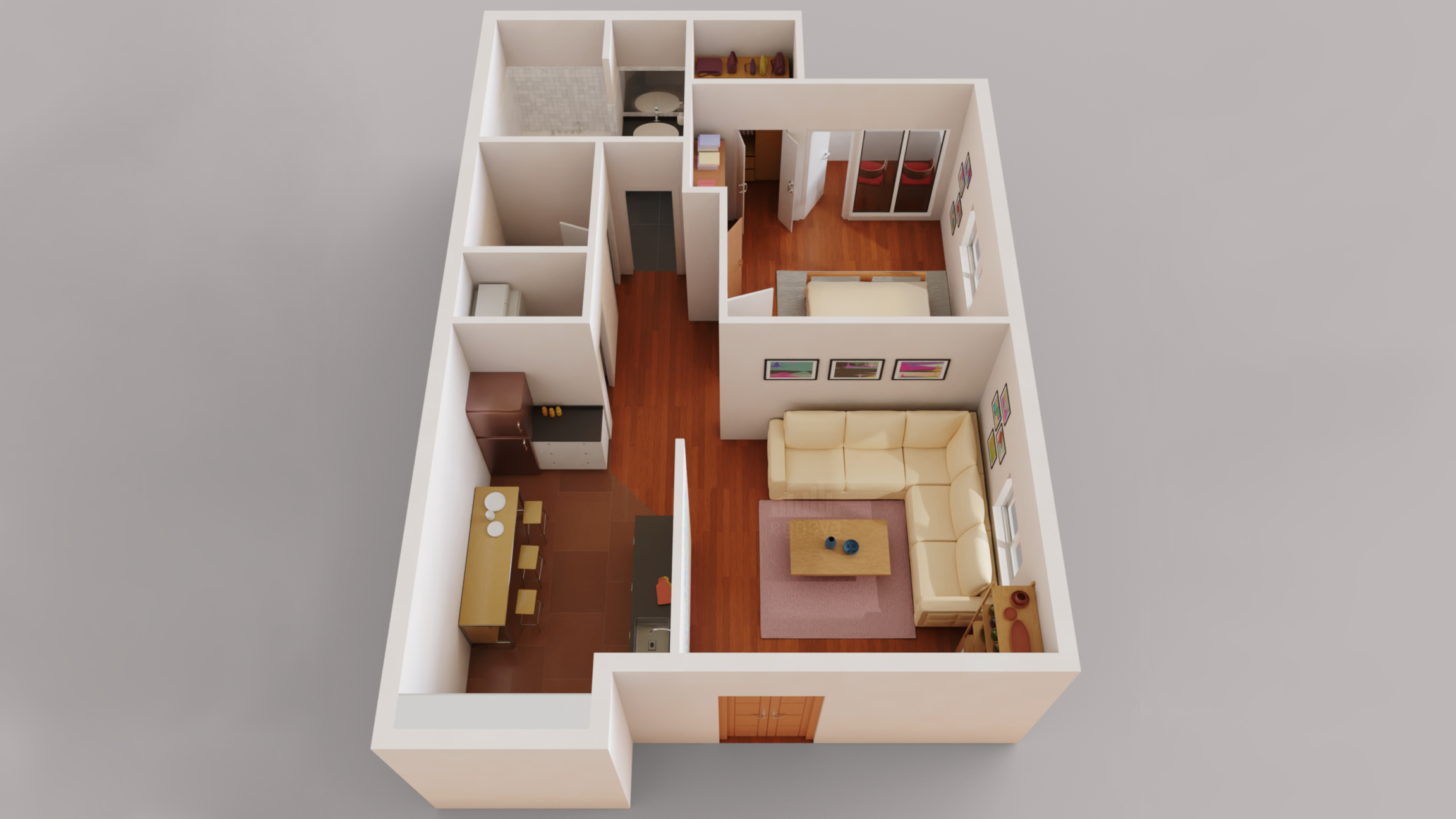 3d Floor Plan One Bedroom Apartment Finished Projects Blender Artists Community