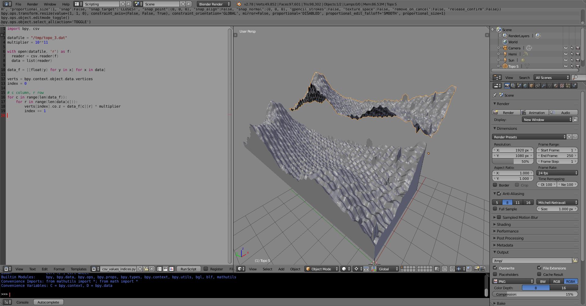 Surface (Matlab) to 3d model - Modeling - Blender Artists