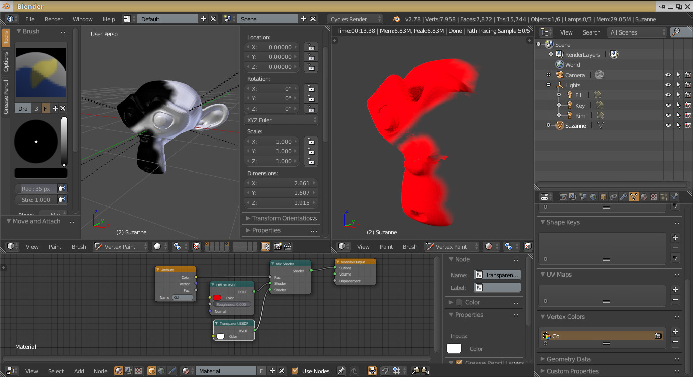 Mixing Two Materials Using Vertexweighttexture Paint Cycles