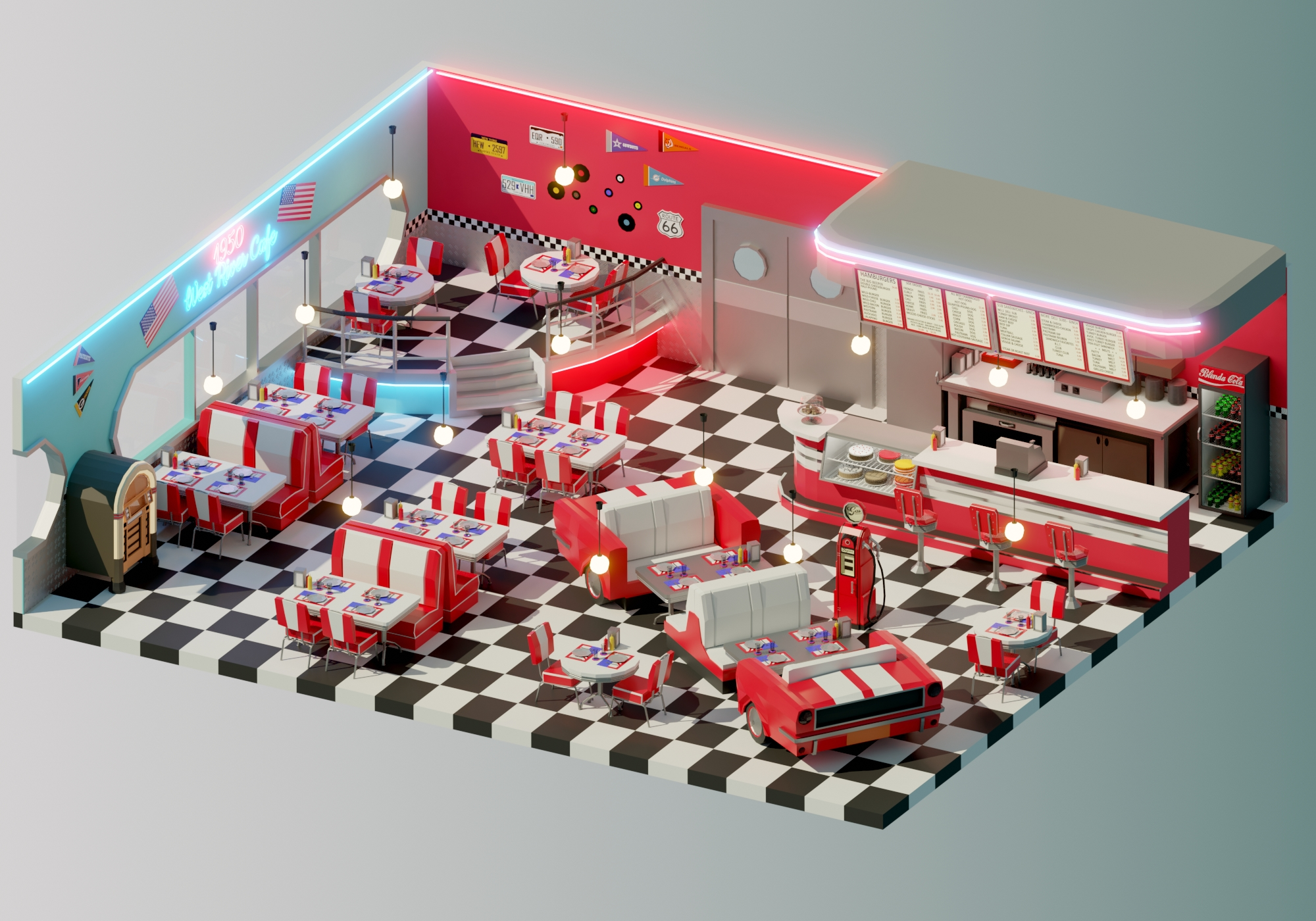 Low Poly American Diner Finished Projects Blender Artists Community