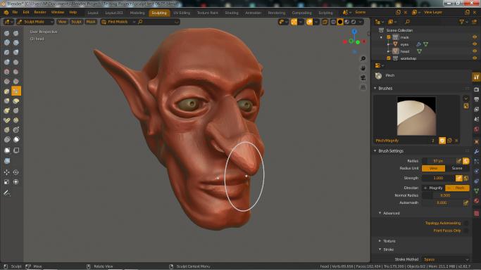sculpt goblin face test 03