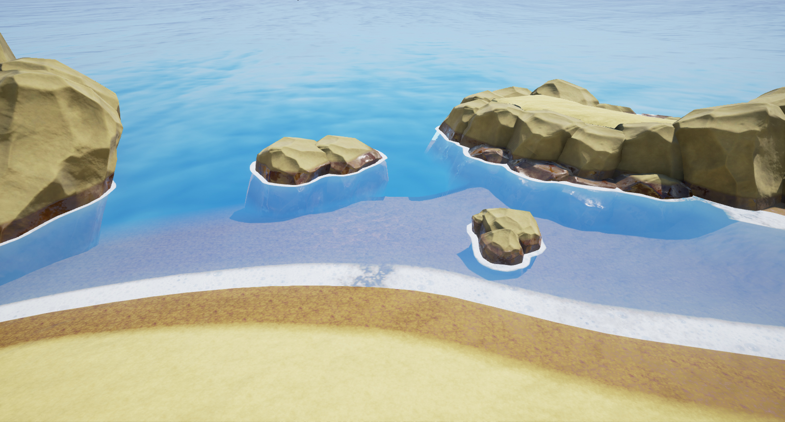 shoreline with mesh/global distance or pixel depth offset for water