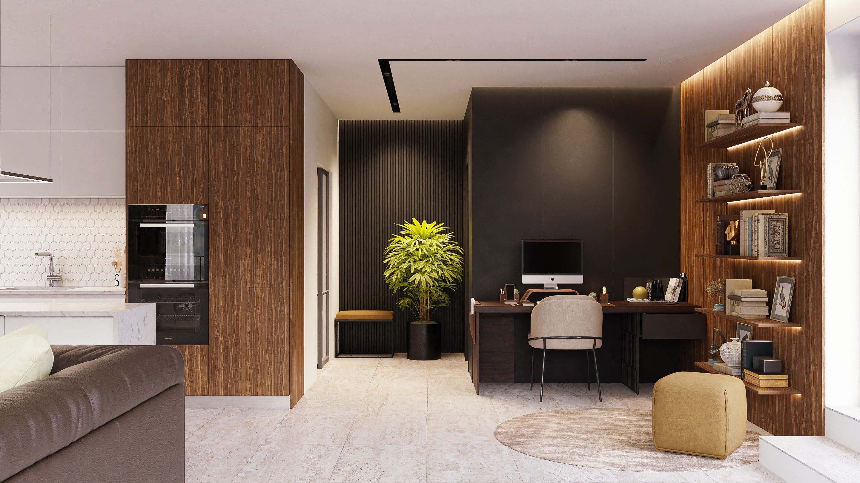 Open Space Modern Small Apartment Kitchen And Living Room Finished Projects Blender Artists Community