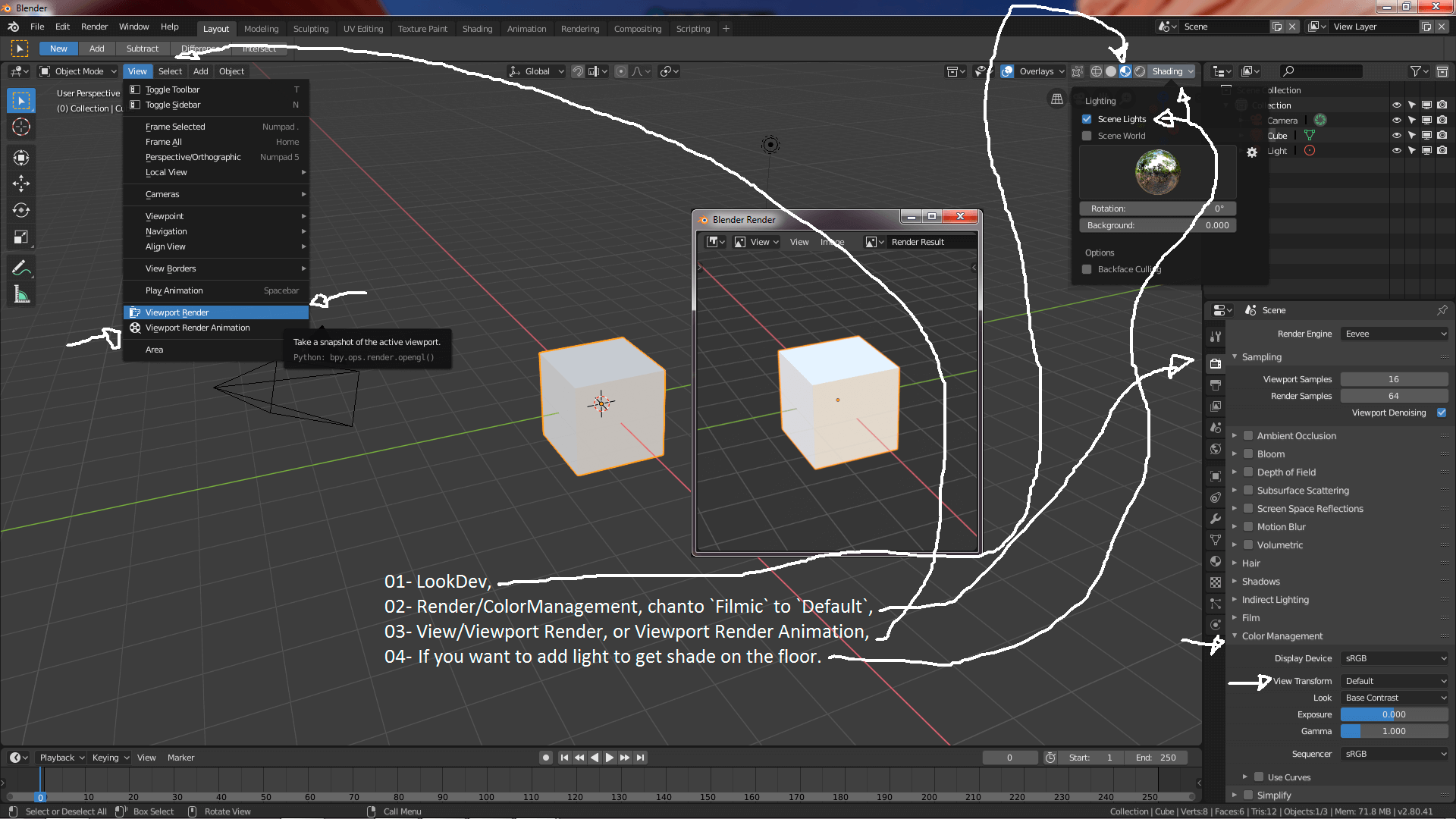 """Mode LookDev"""" from Blender 2 8 to render express animations"""