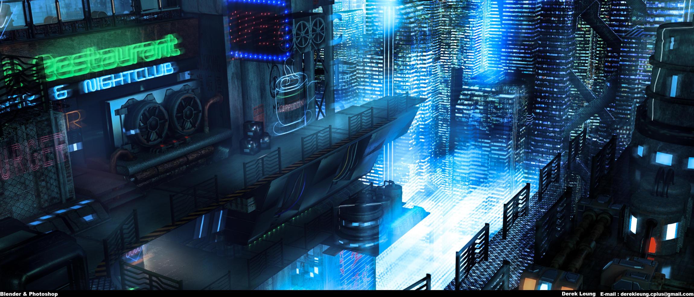 cyberpunk night club